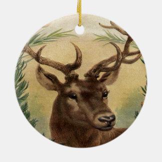 Vintage Deer Buck Stag Nature Rustic Christmas Ceramic Ornament