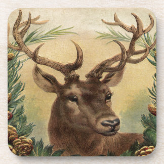 Vintage Deer Buck Stag Nature Rustic Christmas Coaster