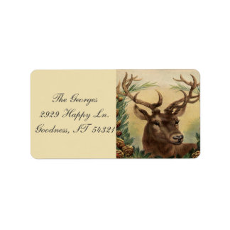 Vintage Deer Buck Stag Nature Rustic Christmas Label