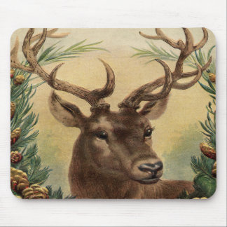 Vintage Deer Buck Stag Nature Rustic Christmas Mouse Pad