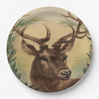 Vintage Deer Buck Stag Nature Rustic Christmas Paper Plate