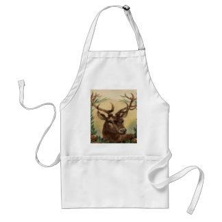 Vintage Deer Buck Stag Nature Rustic Christmas Standard Apron