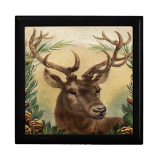 Vintage Deer Buck Stag Winter Holidays Rustic Keepsake Boxes