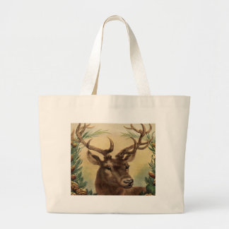 Vintage Deer Buck Stag Winter Holidays Rustic Large Tote Bag