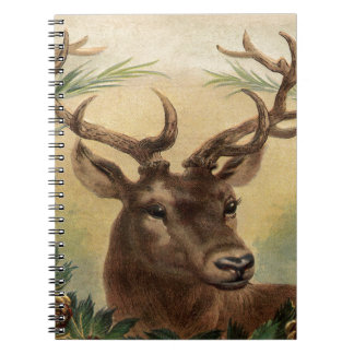 Vintage Deer Buck Stag Winter Holidays Rustic Spiral Notebook