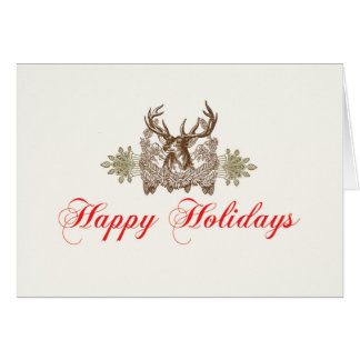 Vintage Deer Head CLassic Holiday Card