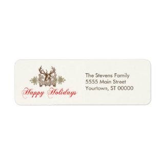 Vintage Deer Head Classic Holiday Greeting Return Address Label