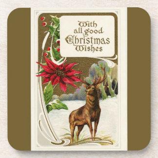 Vintage Deer in Snow Christmas Coaster
