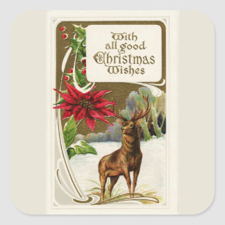 Vintage Deer in Snow Light Gray Christmas Square Sticker