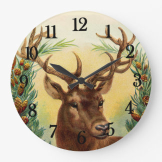 Vintage Deer Large Clock