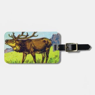 Vintage Deer Print Luggage Tag