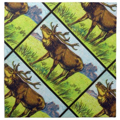 Vintage Deer Print Cloth Napkins