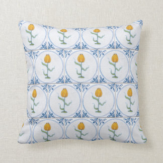 Vintage Delft Tulip Faux Tile Pattern Pillow