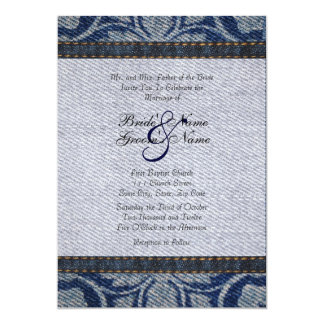 Vintage Denim Floral Wedding Invitation