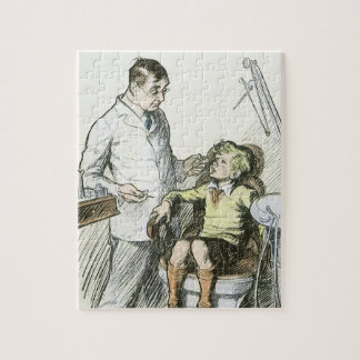 Vintage Dental, Dentist with a Boy in the Chair Jigsaw Puzzle