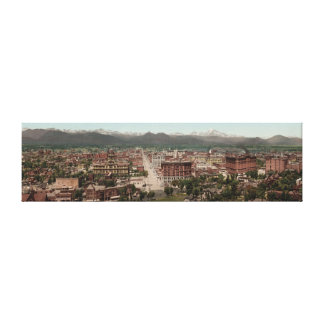 Vintage Denver Colorado Skyline Panoramic Photo Canvas Print