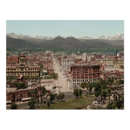 Vintage Denver Colorado Skyline Panoramic Photo Postcard