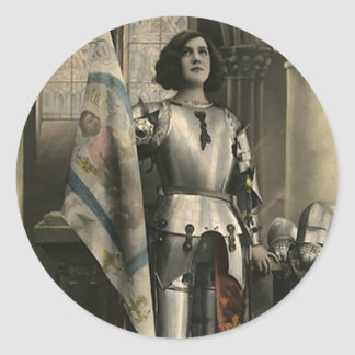 Vintage Depiction of Joan of Arc Classic Round Sticker
