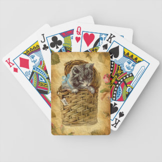 Vintage Design Kitty sitting in the Basket Bicycle Playing Cards