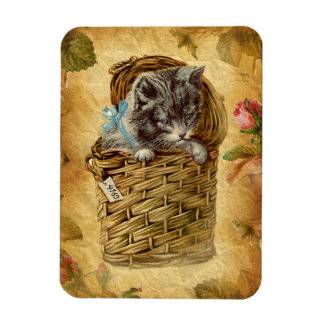 Vintage Design Kitty sitting in the Basket Rectangular Photo Magnet