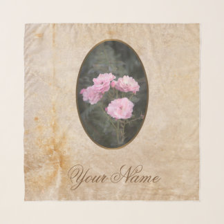 Vintage design. Photo of pink roses. Add your text Scarf