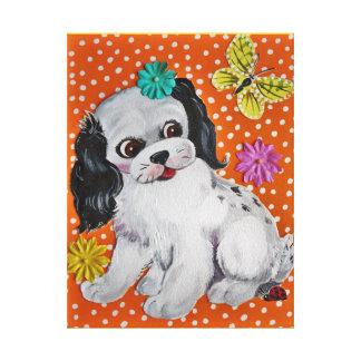 Vintage Design Puppy Dog Art Nursery, Kids Room Canvas Print
