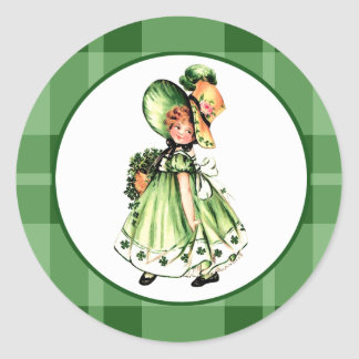 Vintage Design St.Patrick's Day Stgickers Classic Round Sticker
