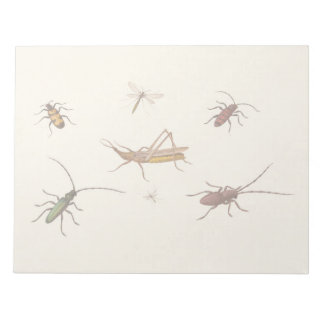 Vintage design with seven different insects notepad