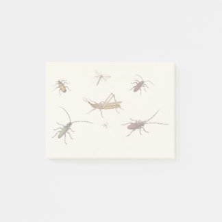 Vintage design with seven different insects post-it notes