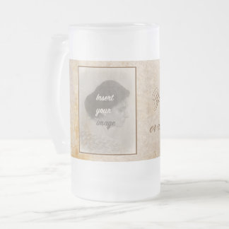 Vintage design with your photo. Add your text. Frosted Glass Beer Mug