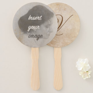 Vintage design with your photo. Add your text. Hand Fan