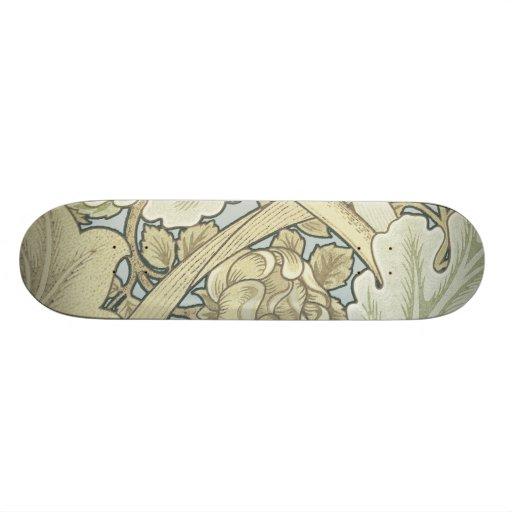 Vintage Designer Art Nouveau Floral Pattern Skate Board