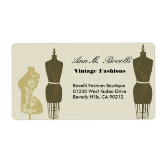 Vintage Designer Fashions & Craft  Business Shipping Label