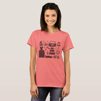 Vintage designers woman t-shirt with Wedding icons