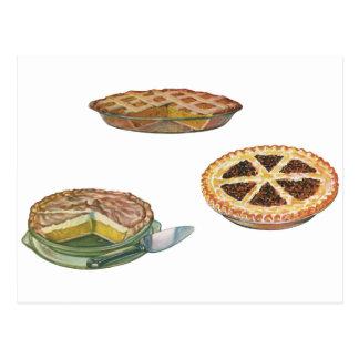 Vintage Desserts Pies Pecan Pumpkin Lemon Meringue Postcard