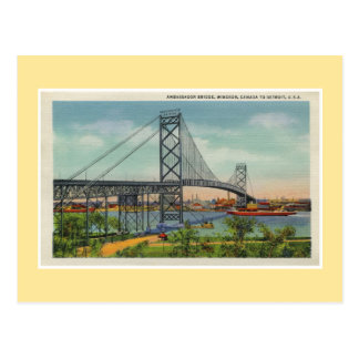 Vintage Detroit Ambassador bridge Windsor Canada Postcard