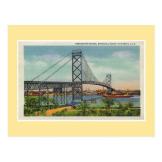 Vintage Detroit Ambassador bridge Windsor Canada Postcard