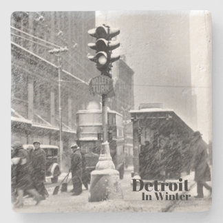 Vintage Detroit in Winter I Snowstorm Stone Coaster