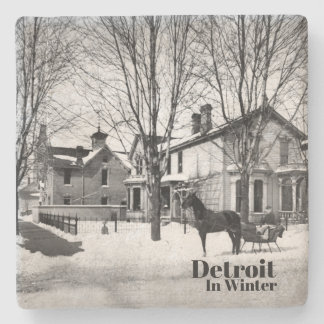 Vintage Detroit in Winter IV Stone Coaster