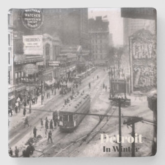Vintage Detroit in Winter X Stone Coaster