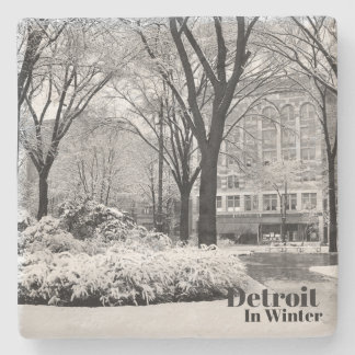 Vintage Detroit in Winter XII Stone Coaster