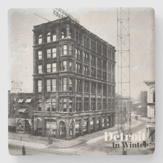 Vintage Detroit in Winter XIII Stone Coaster