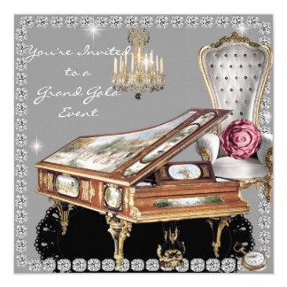 "Vintage Diamond Wedding Event Invitation 5.25"" Square Invitation Card"