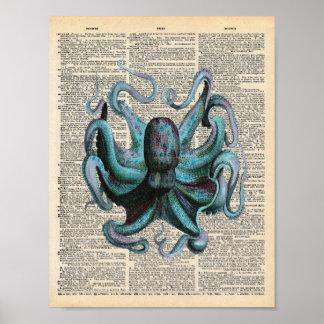 Vintage Dictionary Art Blue Ocean Octopus Poster