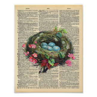 Vintage Dictionary Art Blue Robin's Eggs in Nest Poster