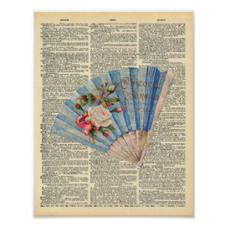 Vintage Dictionary Art Feminine Folding Fan Poster