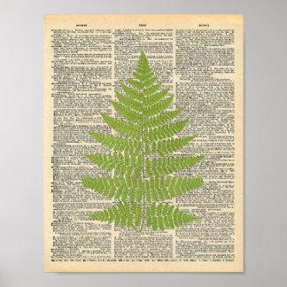Vintage Dictionary Art Green Fern Frond Print