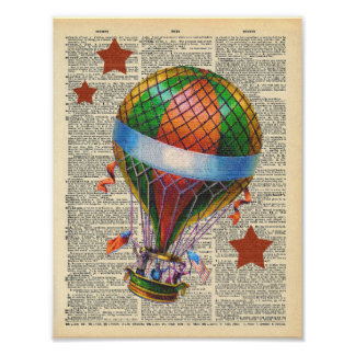 Vintage Dictionary Art Hot Air Balloon Circus Poster