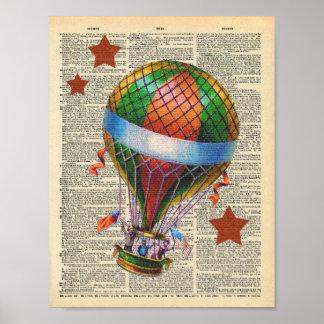 Vintage Dictionary Art Hot Air Balloon Circus Poster
