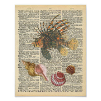 Vintage Dictionary Art Lion Fish and Beach Shells Poster